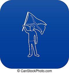 Man protest icon blue vector