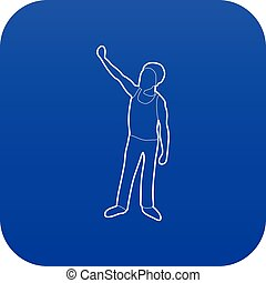 Man protest on the street icon blue vector