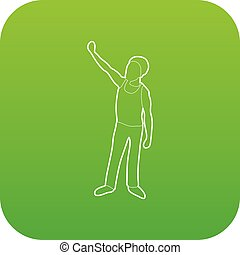 Man protest on the street icon green vector