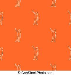 Man protest on the street pattern vector orange