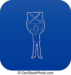 Man protest with sign icon blue vector