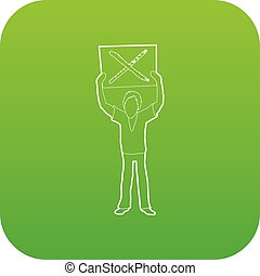Man protest with sign icon green vector