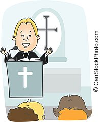 Man Protestant Priest Preach - Illustration of a Protestant...