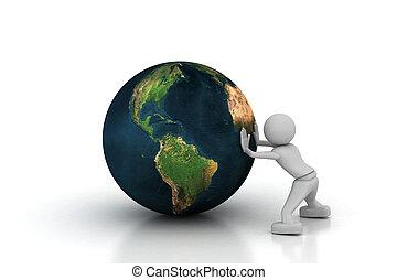 Man pull the world