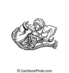 Man Pulling Bull By Horns Tattoo