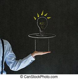 Man pulling idea from magic hat blackboard background