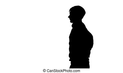 Man pulls out from behind the gun. Silhouette. White - Man...