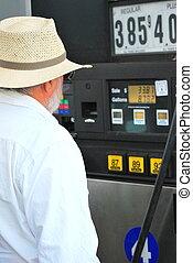Man pumping gas.