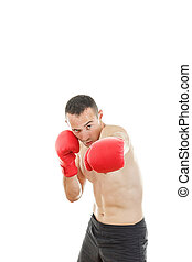 Man punching with red boxing gloves isolated on white background
