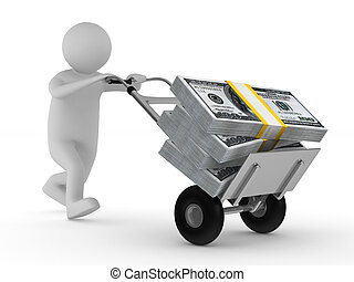 man push hand truck with dollars. Isolated 3D image
