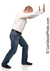 man push pose - man in push position isolated on white...