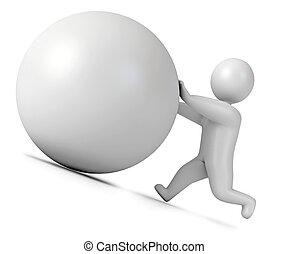 Man pushing a boulder as Sisyphus. Isolated on white...