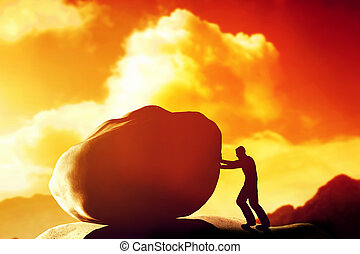 Man pushing a giant, heavy stone, rock over the mountain....