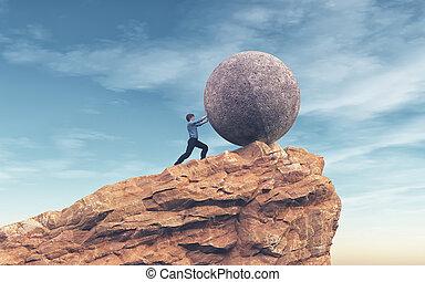 Man pushing a large stone