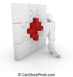 Man pushing a puzzle piece
