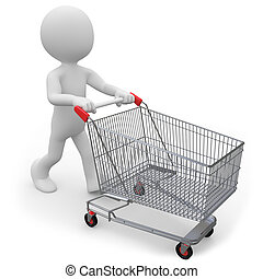 Man pushing a shopping cart empty. Rendered over white with...