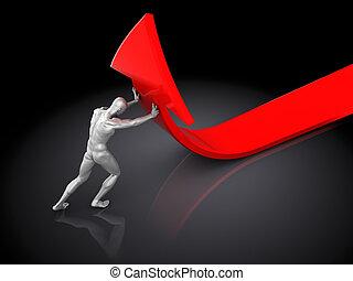 man pushing arrow - 3d illustration of man pushing red arrow...
