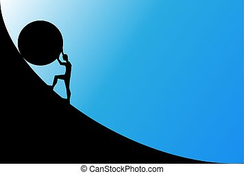 man pushing big boulder uphill with blue sky. Concept of...
