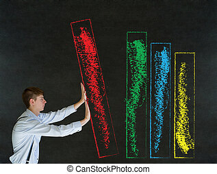 Man pushing blackboard sales graph or chart
