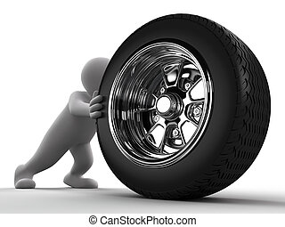 Man pushing Car Wheel