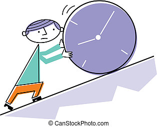 Man pushing clock uphill