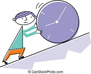 Man pushing clock uphill