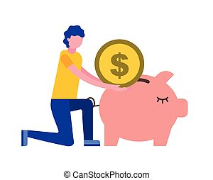 man pushing coin in piggy bank
