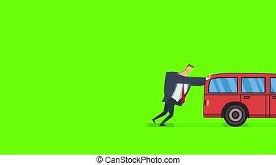 Man pushing forward and running after broken car. Flat...