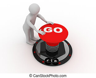 """man pushing """"go"""" button .3D rendered illustration"""