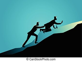 Man pushing his exhausted friend uphill - Business concept...