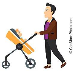Man pushing pram. - A young father pushing a baby stroller...