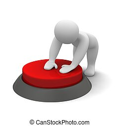 Man pushing red button. 3d rendered illustration.