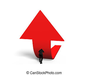 Man pushing red trend 3D arrow upward isolated on white...