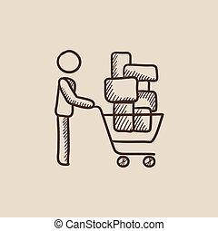 Man pushing shopping cart sketch icon.