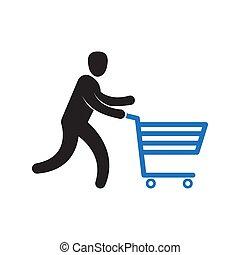 Man pushing shopping cart