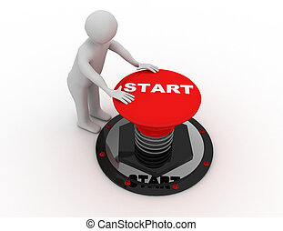 "man pushing ""start"" button .3D rendered illustration"