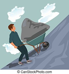 Man pushing stone uphill on wheelbarrow, vector illustration