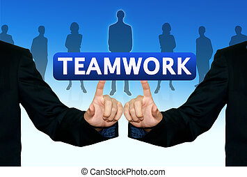 Man pushing the business word, teamwork