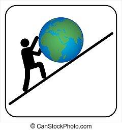 Man pushing the earth, vector