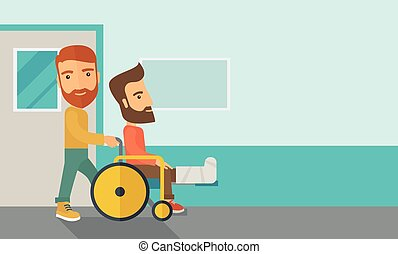 Man pushing the wheelchair with broken leg patient. - A ...