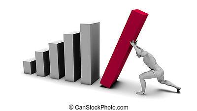 Man Pushing Up Bar Chart Block as the Final Piece