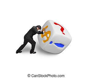 man pushing white dice