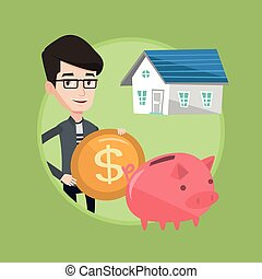 Man puts money into piggy bank for buying house. - Caucasian...