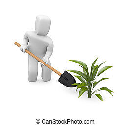 Man puts plants - Image contain the clipping path