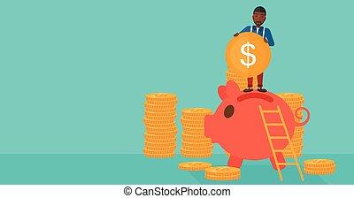 Man putting coin in piggy bank.