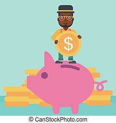 Man putting coin in piggy bank vector illustration