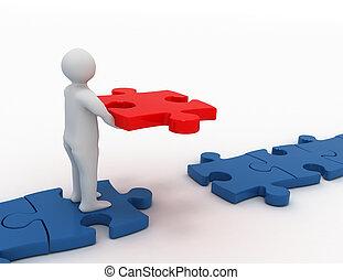 Man putting final piece of puzzle . business concept