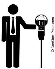 man putting money in parking meter - stick man or figure...