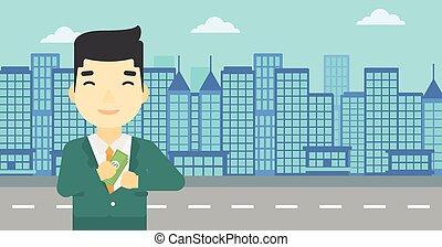 Man putting money in pocket vector illustration.
