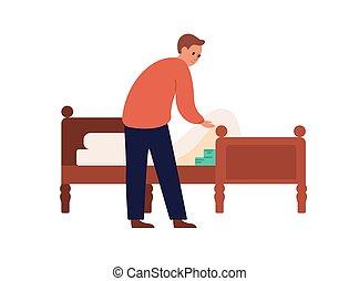 Man putting money under mattress vector flat illustration. ...